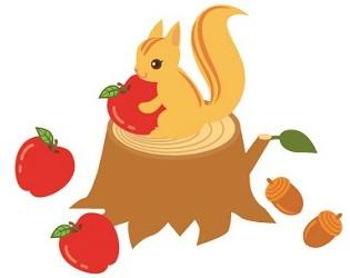 りんごとリス